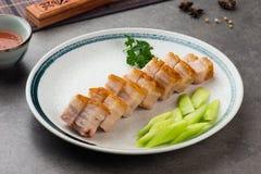 De knapperige Oosterse Buik van het Braadstukvarkensvlees met achtergrond Stock Afbeeldingen
