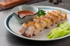 De knapperige Oosterse Buik van het Braadstukvarkensvlees met achtergrond Royalty-vrije Stock Afbeelding