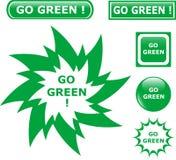 De knoop gaat groene pictogrammen Stock Foto