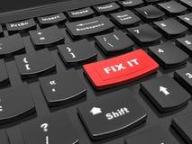 De knoop op het toetsenbord - om het te bevestigen, bevestig omhoog - het hulpconcept in het aanpakken van de 3d problemen en uit Stock Foto's