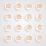 De knoop stelt geplaatste camerapictogrammen in de schaduw Royalty-vrije Stock Foto