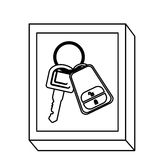 De knoop van de silhouetrechthoek met sleutels en keychain vector illustratie