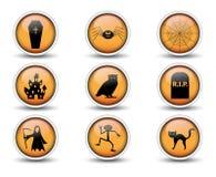 De knopen en Halloween-de pictogrammen plaatsen 02 stock illustratie