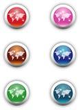 De Knopen van Aqua van Worldmap Stock Foto