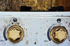 De Knopen van de twee Gasfornuizencontrole Stock Foto