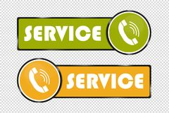 De Knopen van de de diensttelefoon - Vierkant en Cirkel Groene Pictogrammen - en Gele VectordieIllustratie - op Transparante Acht vector illustratie
