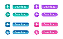 De knopen van de download Reeks gekleurde downloadpictogrammen Vector illustratie Stock Afbeeldingen