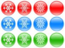 De knopen van het glas met sneeuwvlokken Royalty-vrije Stock Foto's