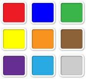 De knopen van het kleurenweb met witte rand stock illustratie