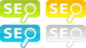 De knopen van het Web met Seo- tekst. Stock Afbeeldingen