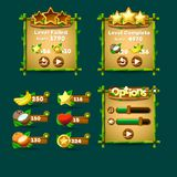 De knopen van de spelinterface, vooruitgangsbar, middelpictogram royalty-vrije illustratie