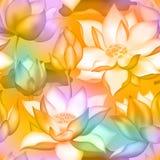 De knoppen en de bloemen naadloze achtergrond van Lotus , De aquatische installatie botanisch ontwerp van Water lilly nelumbo royalty-vrije illustratie
