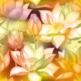 De knoppen en de bloemen naadloze stoffendruk van Lotus , De aquatische installatieillustratie van Water lilly nelumbo vector illustratie