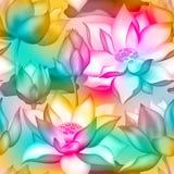 De knoppen en de bloemen naadloze textieldruk van Lotus , De aquatische installatie botanisch ontwerp van Water lilly nelumbo stock illustratie