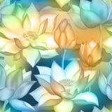 De knoppen en de bloemen naadloze textieldruk van Lotus , De aquatische installatieillustratie van Water lilly nelumbo vector illustratie