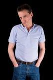 De knorrige Fronsende Mens met dient Zakken in Stock Fotografie