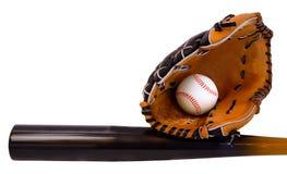 De Knuppel, de Bal en de Handschoen van het honkbal Royalty-vrije Stock Foto's