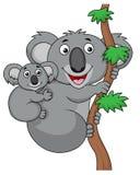 De koalabeeldverhaal van de moeder en van de baby Royalty-vrije Stock Foto's
