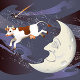 De koe die over de Maan is gesprongen Royalty-vrije Stock Afbeelding