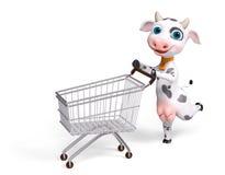 De koe die van het beeldverhaalkarakter met boodschappenwagentje het 3d teruggeven lopen Royalty-vrije Stock Foto