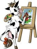 De koe trekt Stock Foto's