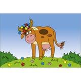 De koe van Cutie bij de weide stock illustratie