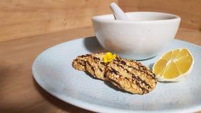 De koekjes bakken chocoladepounder stock foto's