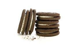 De Koekjes en Crumbs van Choclolate Stock Afbeeldingen