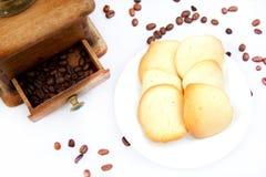 De koekjes en de koffie van de amandel Stock Afbeeldingen