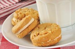 De koekjes en de melk van de Pindakaas Stock Foto's