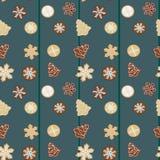 De koekjes naadloos patroon van peperkoekkerstmis Stock Foto