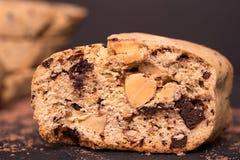 De koekjes van amandelbiscotti De achtergrond van het voedsel Stock Foto