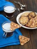 De koekjes van de amandel met chocolade Stock Fotografie