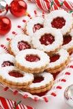 De Koekjes van de Amandellinzer Torte van de Kerstmisframboos Royalty-vrije Stock Afbeelding