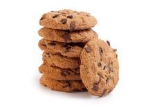 De koekjes van de chocolade die op wit worden geïsoleerd Stock Foto