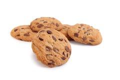 De koekjes van de chocolade die op wit worden geïsoleerd Stock Fotografie