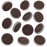 De koekjes van de chocolade die op witte achtergrond worden geïsoleerdw Royalty-vrije Stock Afbeeldingen