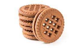 De koekjes van de chocolade op wit worden geïsoleerds dat Stock Foto's