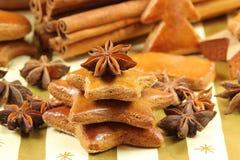 De koekjes van de peperkoek - Kerstboom Stock Afbeelding