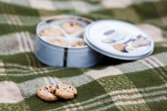 De koekjes van de zandkoek op plaid Stock Foto's