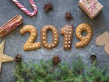 De koekjes van Ginger Christmas of van het Nieuwjaar in de vorm van nummer 2019 op een donkere achtergrond Seizoengebonden verpak royalty-vrije stock foto's