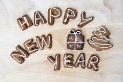 De koekjes van Kerstmis Gelukkig Nieuwjaar Royalty-vrije Stock Foto