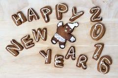 De koekjes van Kerstmis Gelukkig Nieuwjaar 2016 Stock Afbeelding