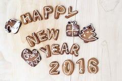 De koekjes van Kerstmis Gelukkig Nieuwjaar 2016 Royalty-vrije Stock Foto's