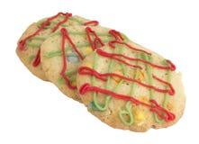 De koekjes van Kerstmis op wit Stock Afbeeldingen