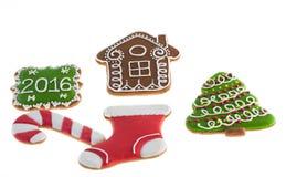 De koekjes van Kerstmis op witte achtergrond Stock Afbeelding
