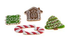 De koekjes van Kerstmis op witte achtergrond Royalty-vrije Stock Foto