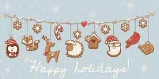 De koekjes van Kerstmis Slinger vastgesteld ontwerp Vector illustratie Royalty-vrije Stock Afbeelding