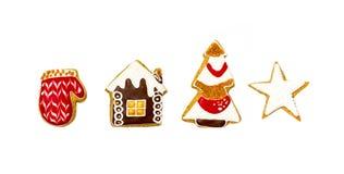 De koekjes van de Kerstmispeperkoek op een witte achtergrond Royalty-vrije Stock Afbeelding