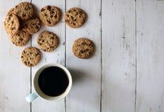 De koekjes van de koffie en van de chocoladeschilfer stock foto's